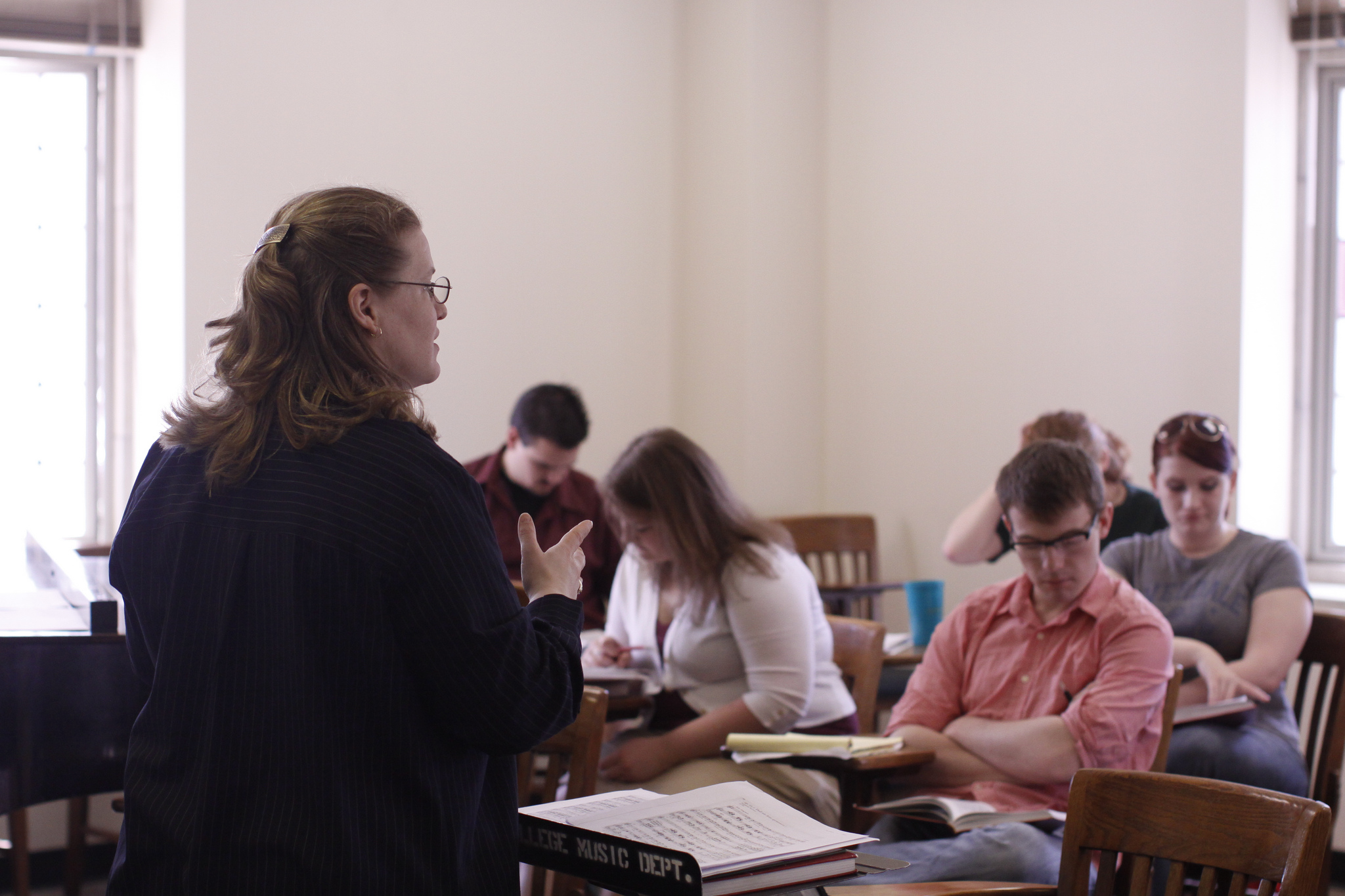 a professor and students in a classroom