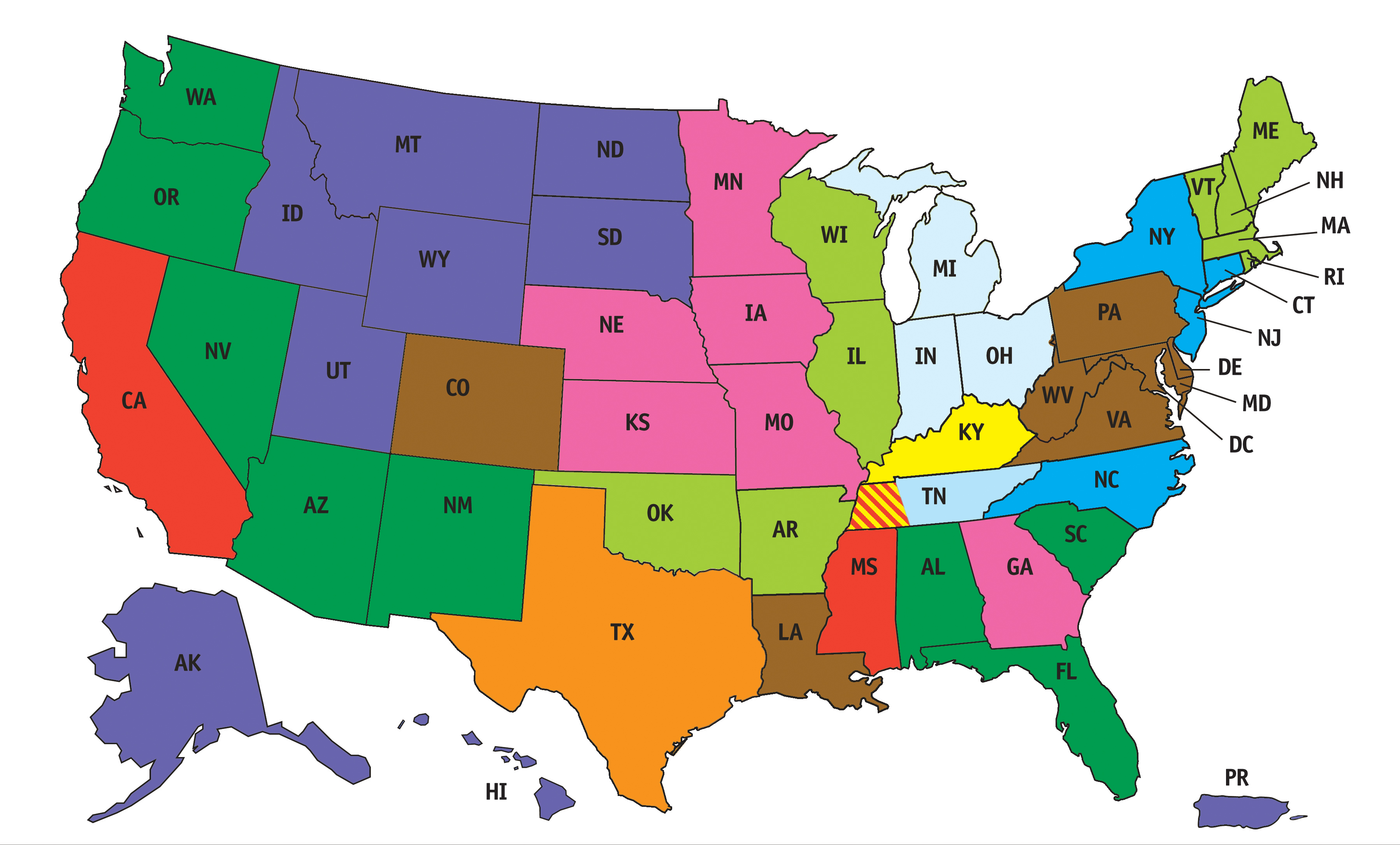 A colored map of the united states.