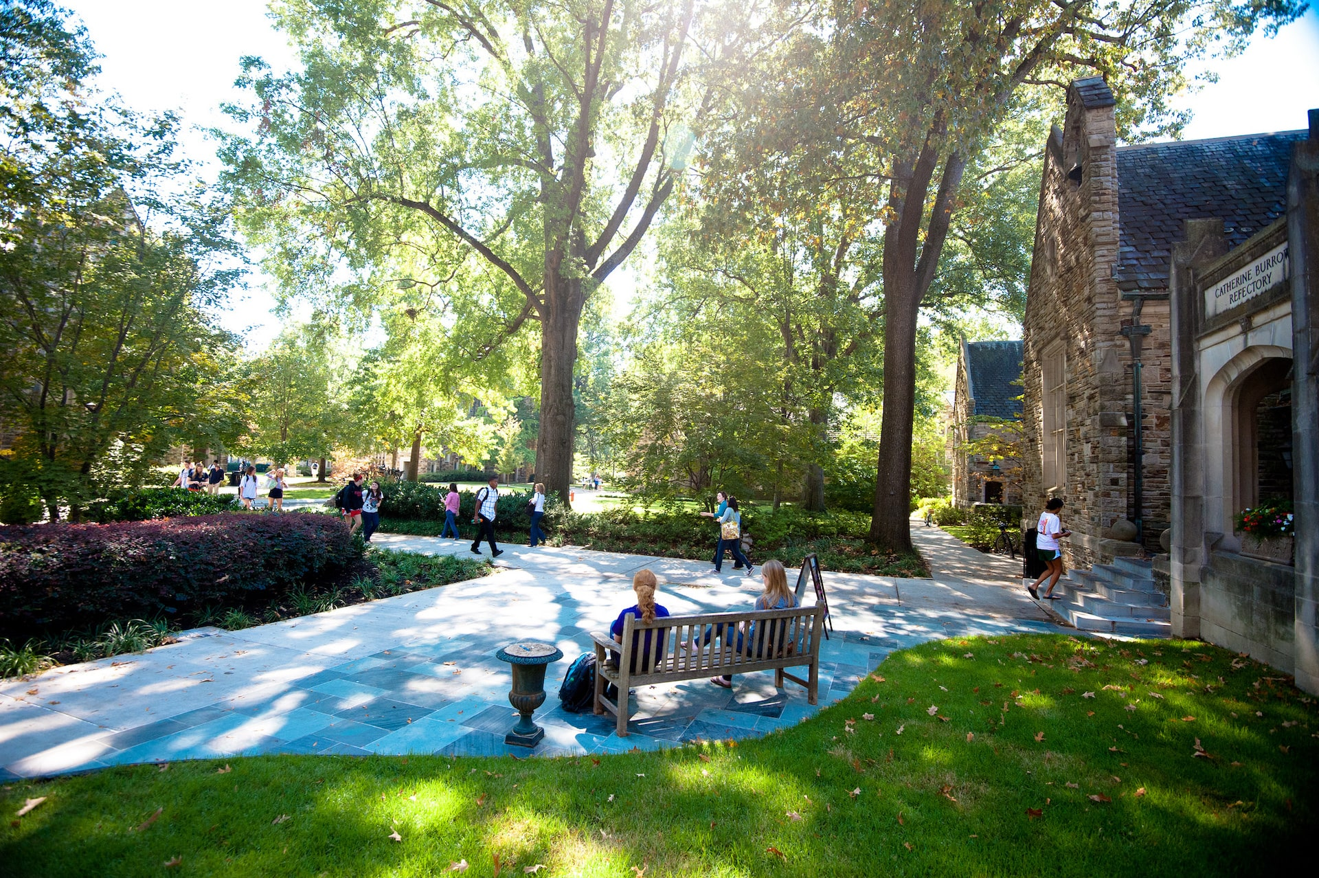 Students walk to lunch under the shade of oak, hickory, and maple trees.