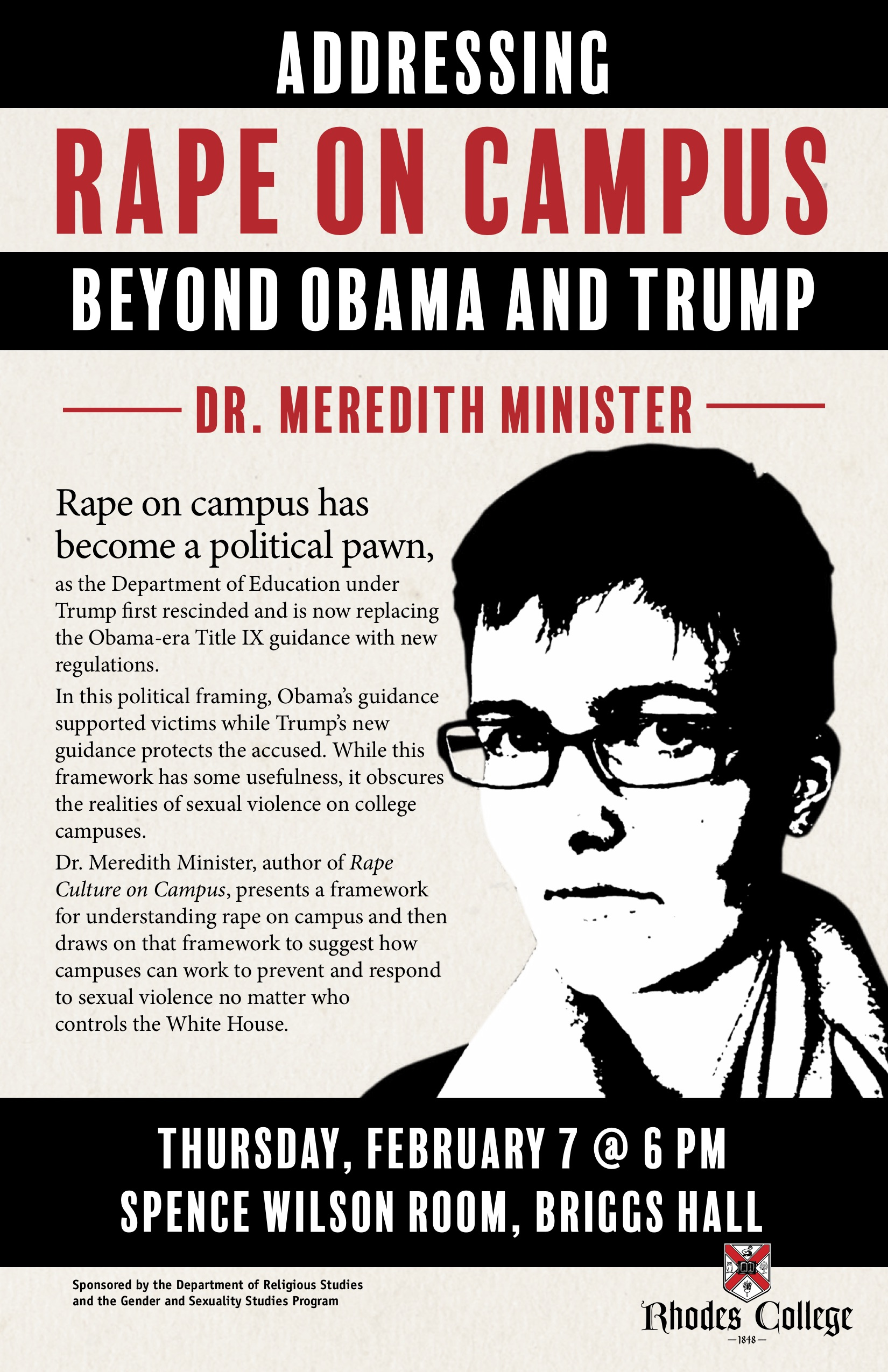 "Poster advertising ""Addressing Rape on Campu: Beyond Obama and Trump"""