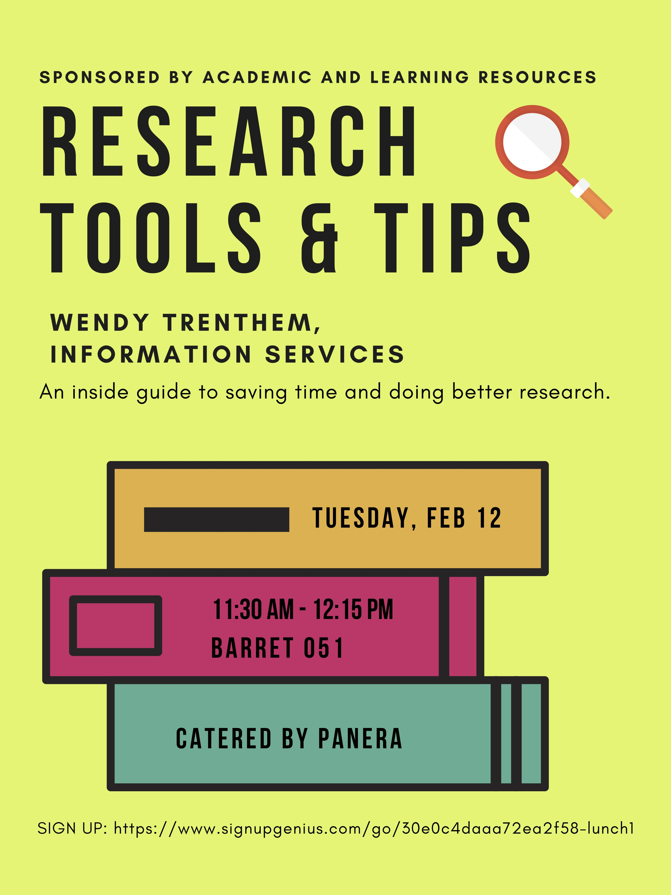 Poster that advertises Research Tools & Tips