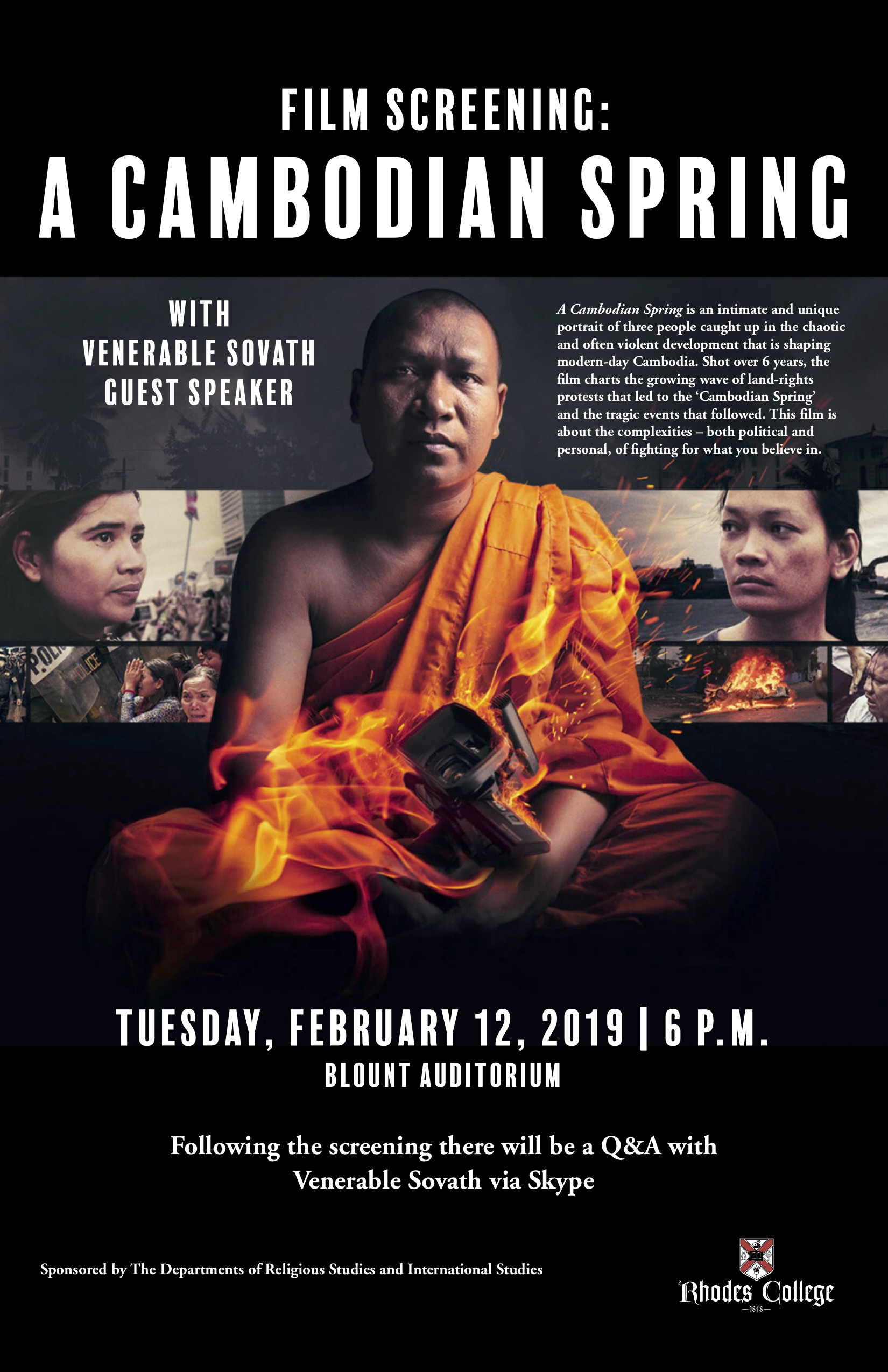 Poster with a photo of a Buddhist monk dressed in orange with flames emanating front a camera he is holding reads, Film Screening: Cambodian Spring