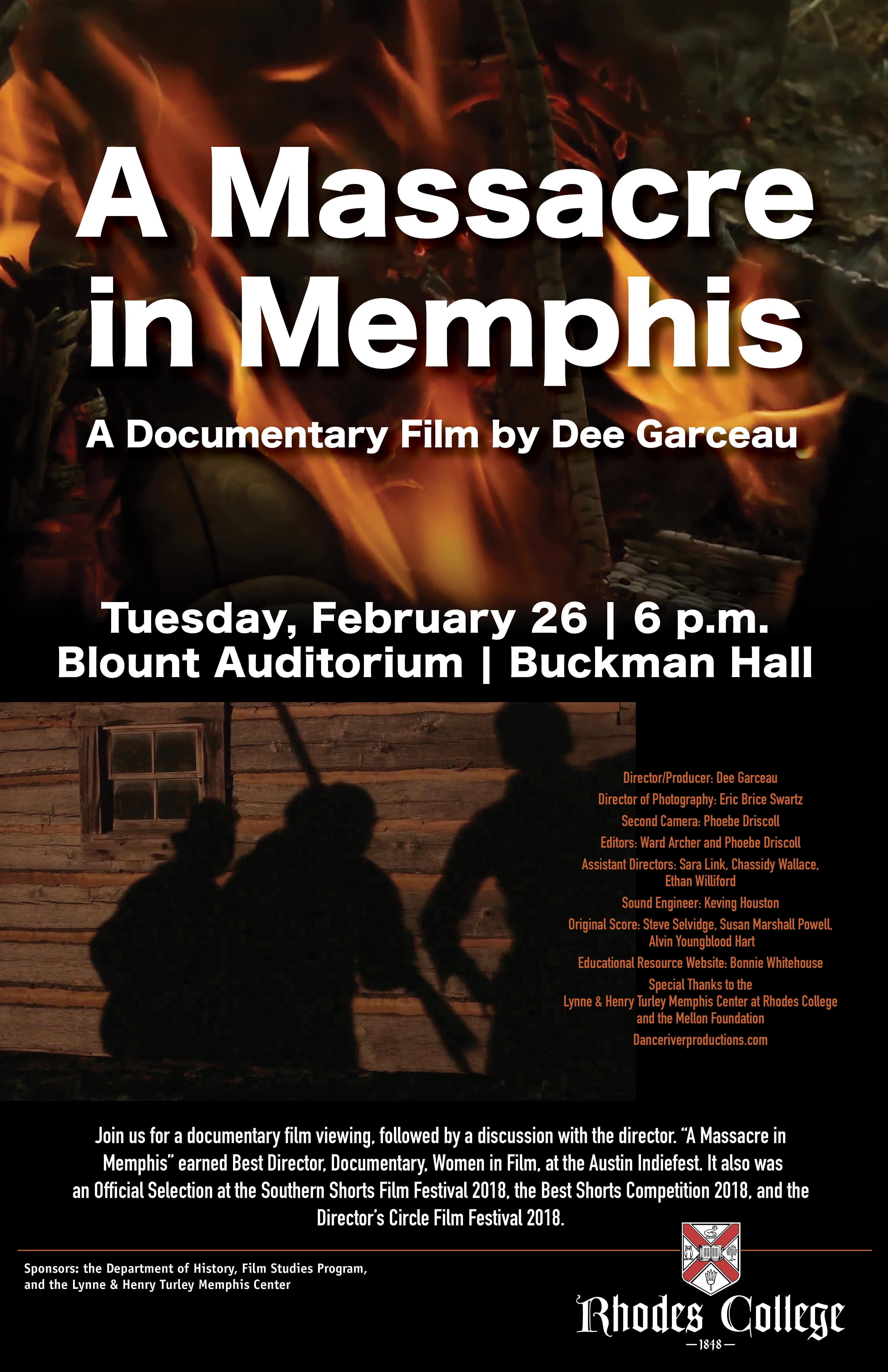 "A poster with fire and shadows of men in the background that reads, ""A Massacre in Memphis A Documentary Film by Dee Garceau"