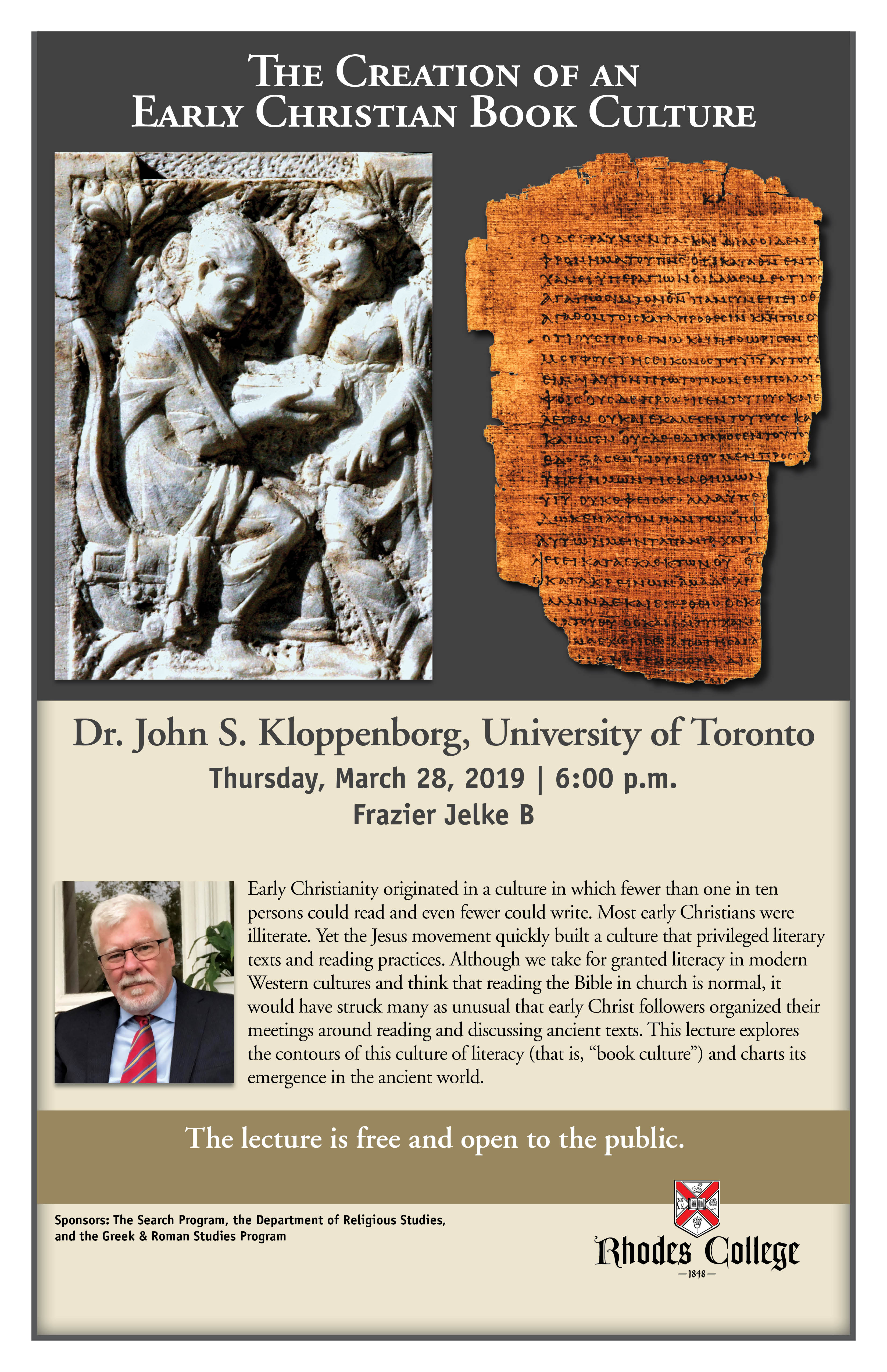 poster for an upcoming lecture on March 28