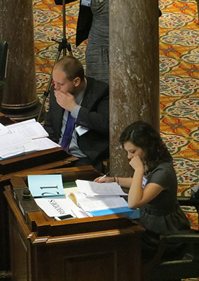 students study legislative papers