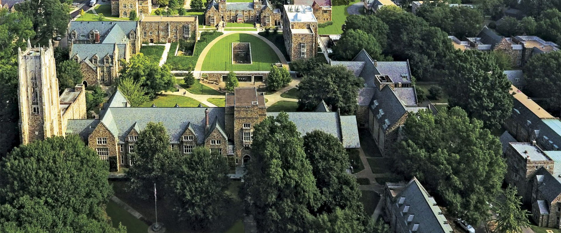 A view of campus as seen from the air.