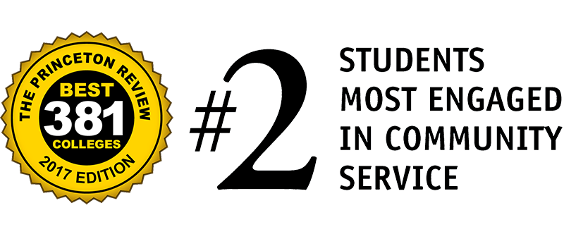 "alt=""Princeton Review, Best Colleges - Ranked Number 2 in Students Most Engaged in Community Service"""