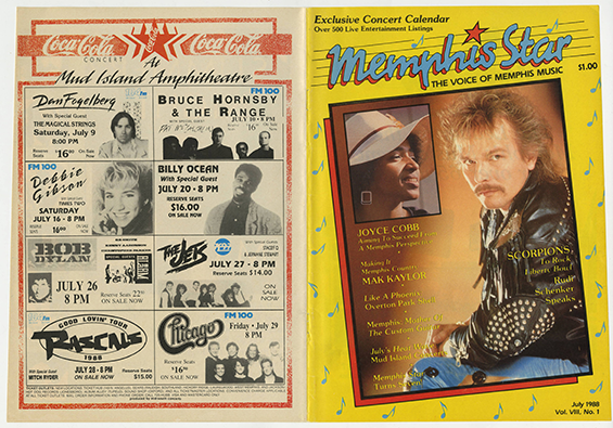 an image of old Coca-Cola advertisements with a lineup of various Mud Island performers