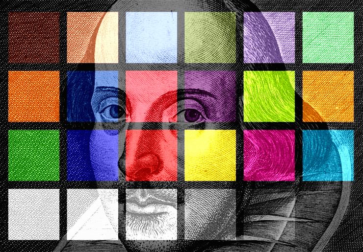 a colorful mosaic design over a picture of william shakespeare
