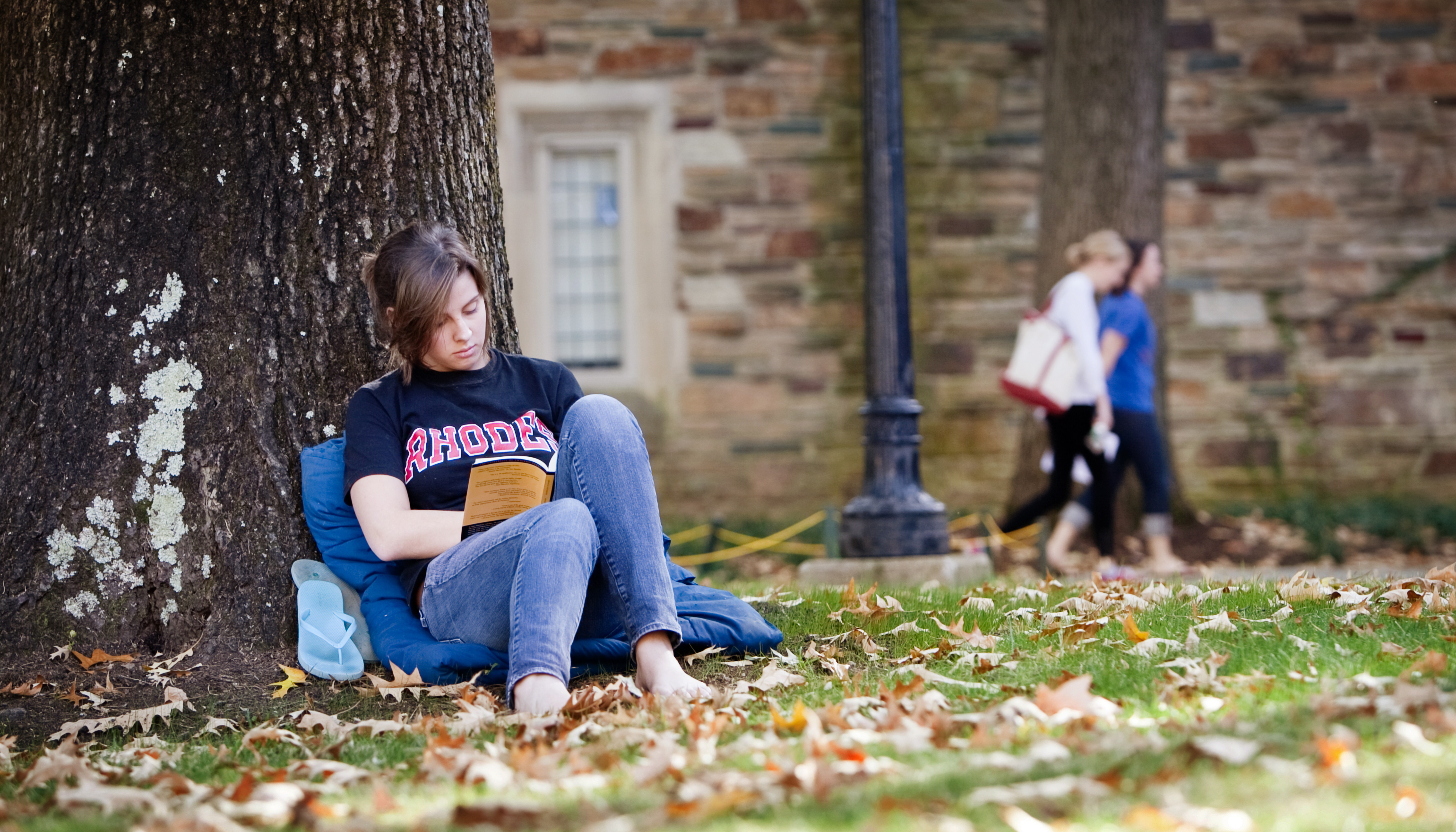 a student sitting under a tree reading a book