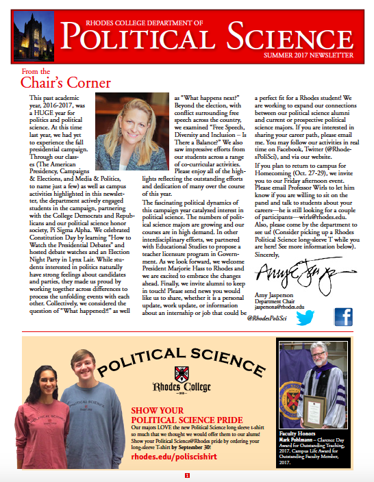 political science newsletter rhodes college