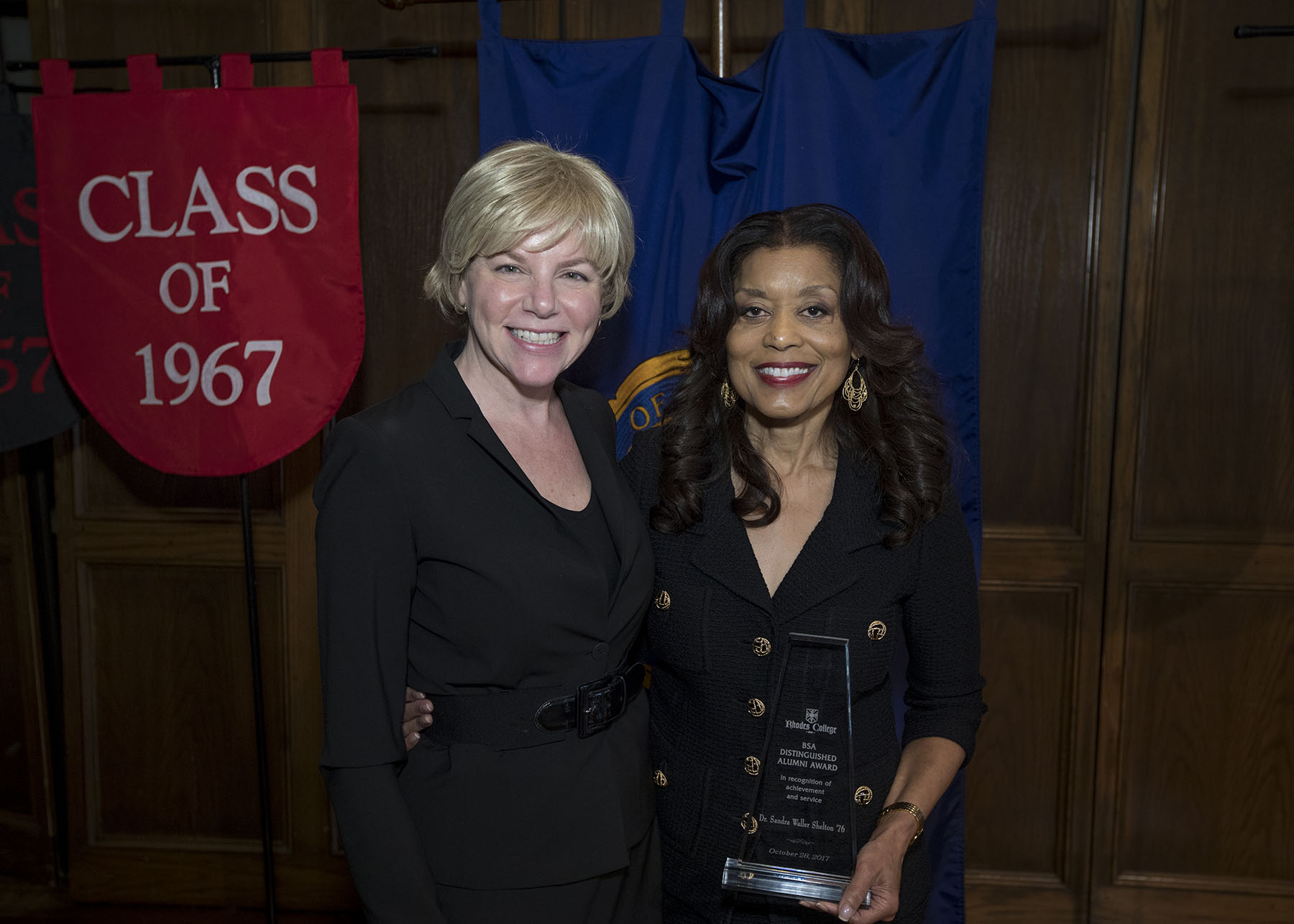 Dr. Sandra Waller Shelton '76 and President Hass