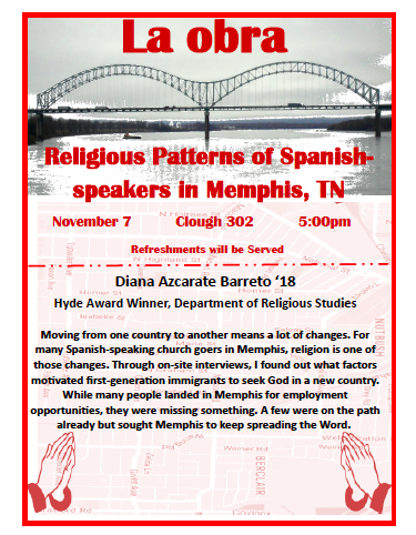a poster for a presentation on religious patterns for Spanish-speakers