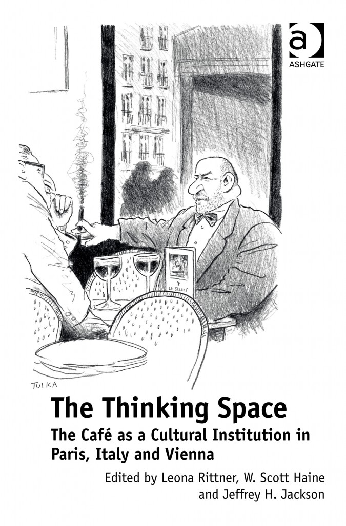book cover featuring a cartoon drawing of two men talking in a Cafe