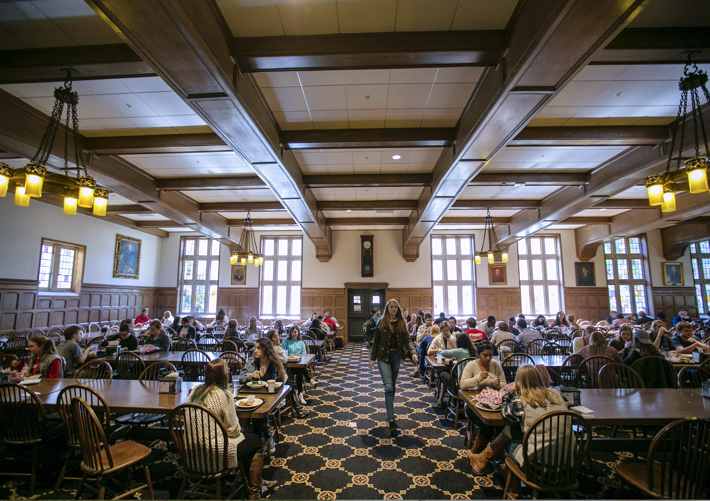 The main dining hall in the Catherine Burrow Refectory