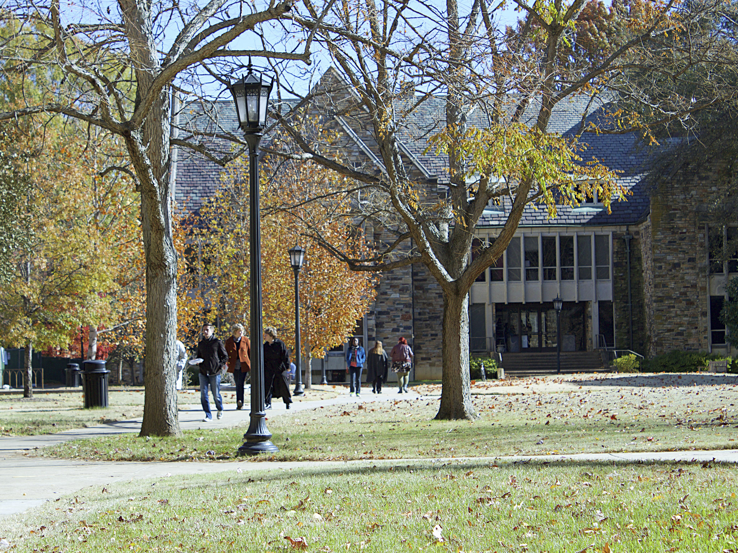 An exterior shot of Clough Hall in autumn