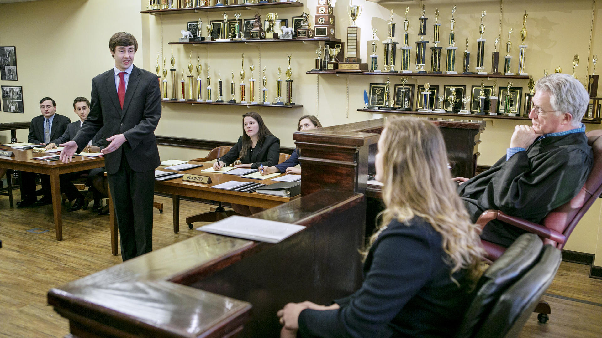 Students at mock trial practice.