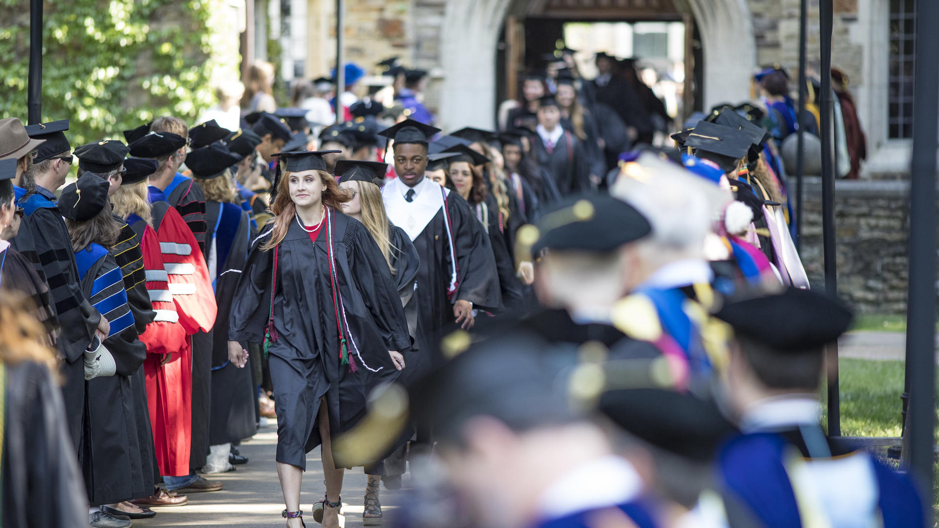 Students marching at commencement