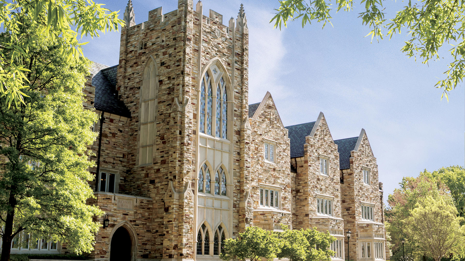 Buckman Hall, a large Gothic stone building