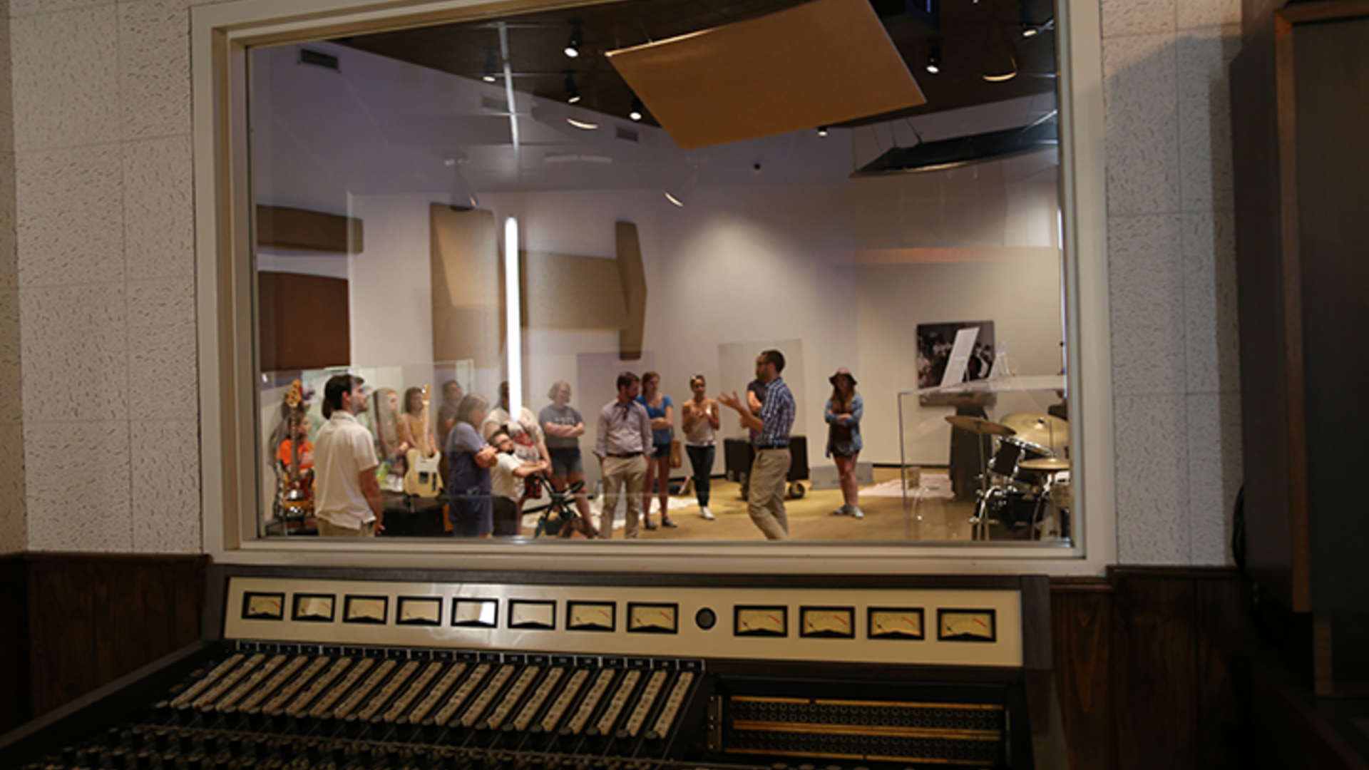 Students standing in a Stax Museum studio