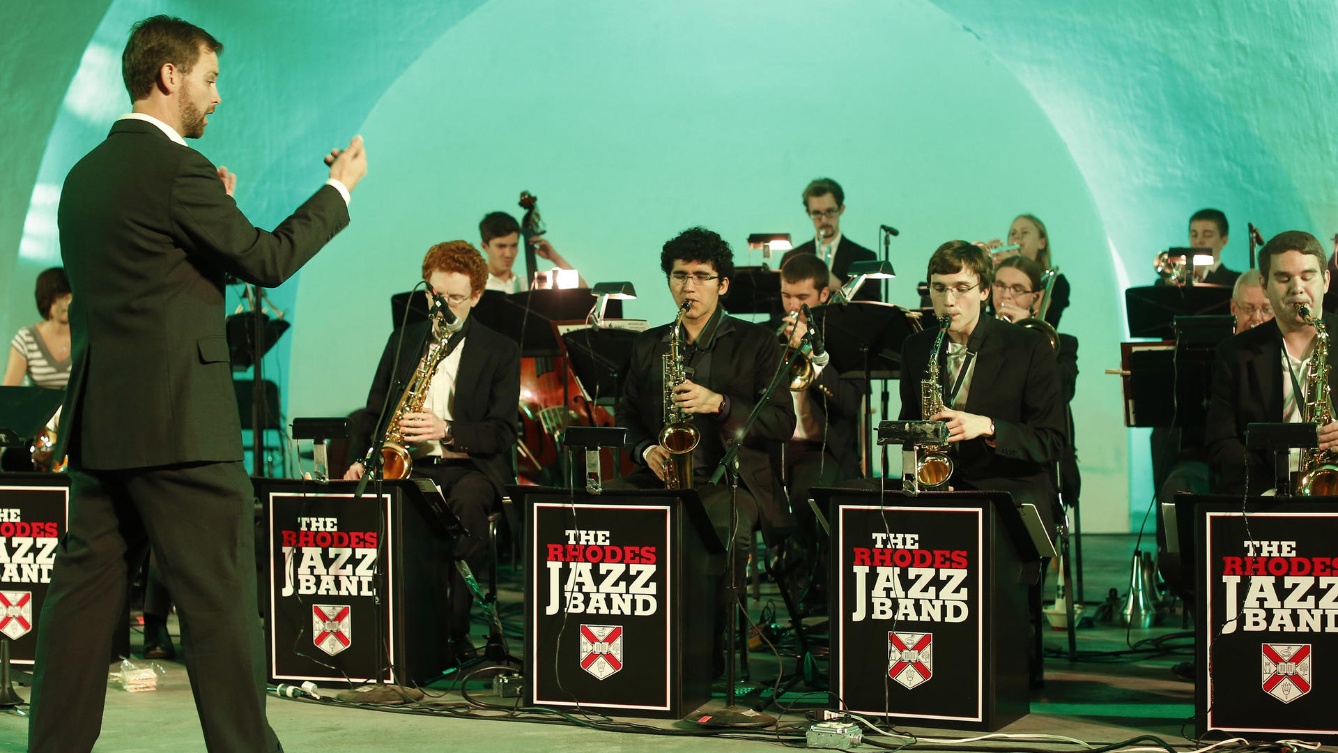 a jazz ensemble on stage