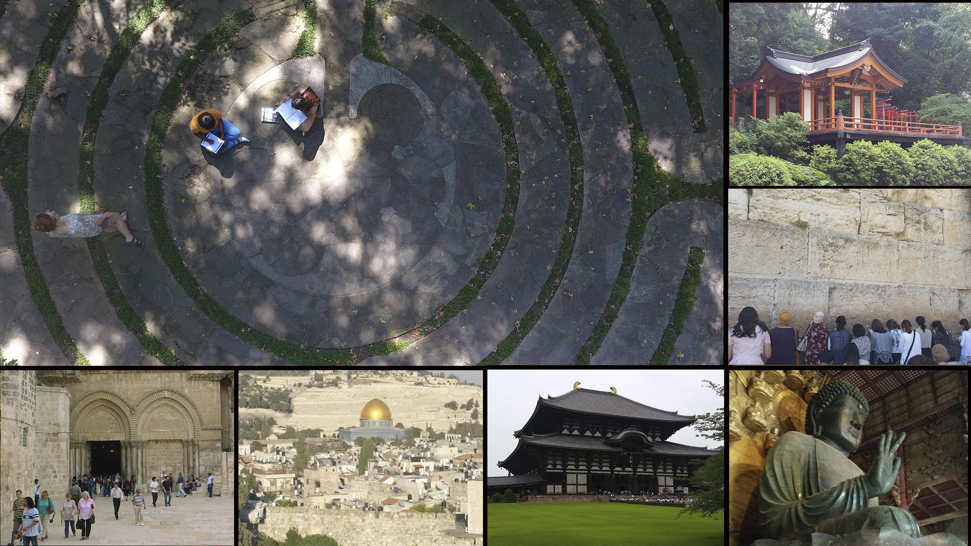 A collage of religious monuments around the world