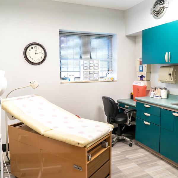 A doctors examination room.