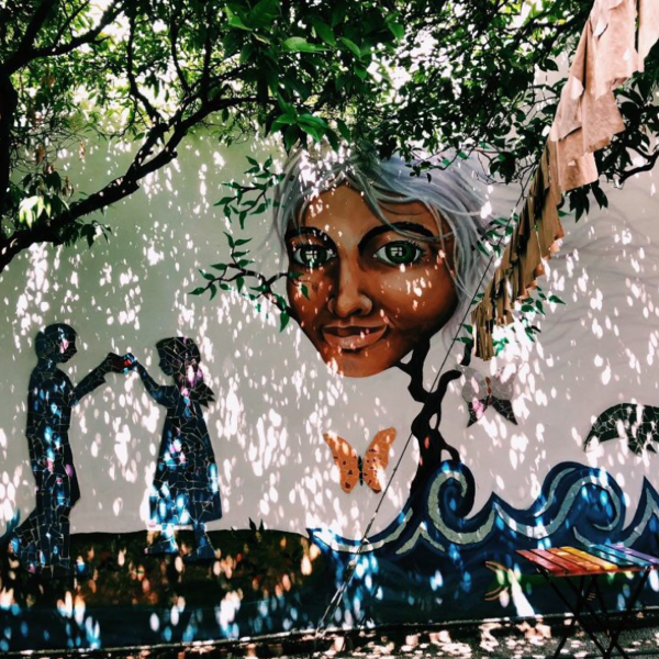 A mural with a woman's face