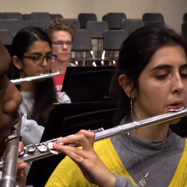Students in a wind ensemble.