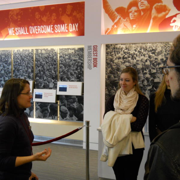students on a tour at the national civil rights museum