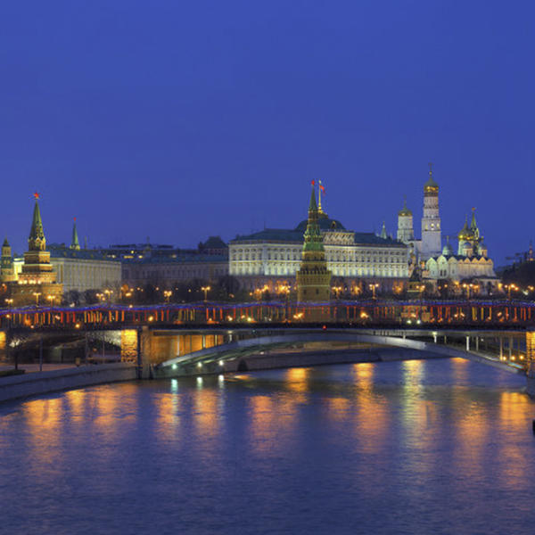 A distant shot of the Kremlin in Moscow